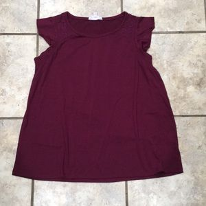Burgundy flutter sleeve top by Cloud chaser
